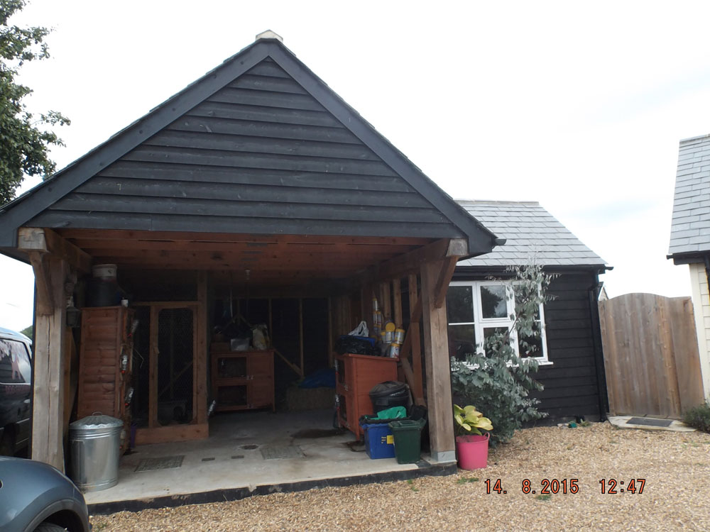 Cart lodge style timber framed garage and workshop