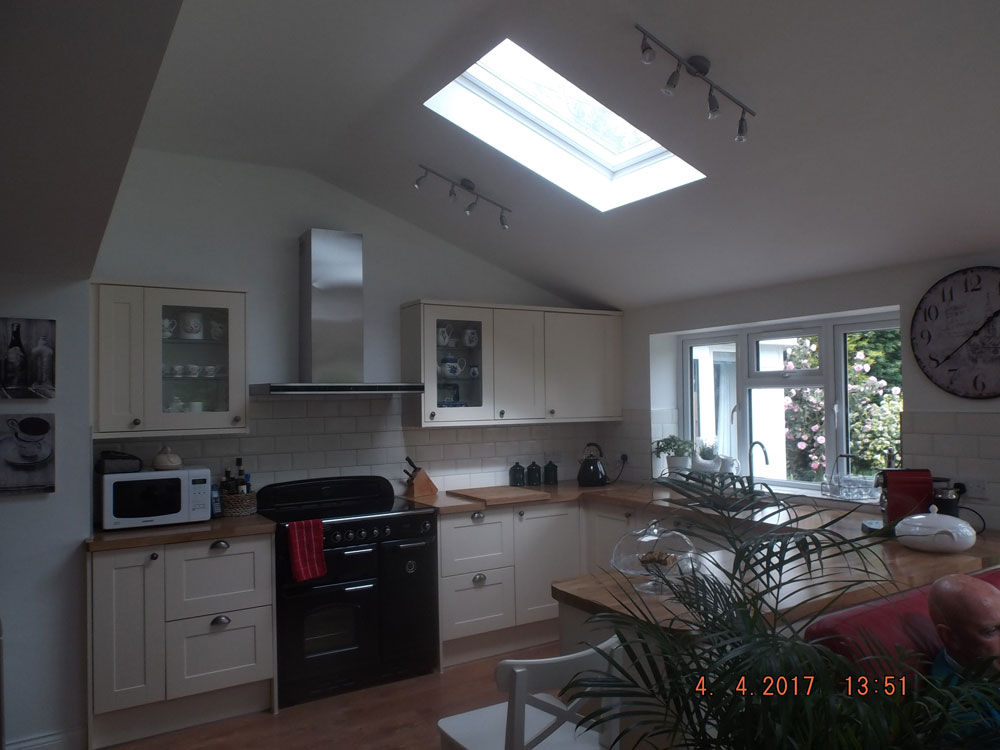 Open plan kitchen extension with vaulted ceiling and roof lights
