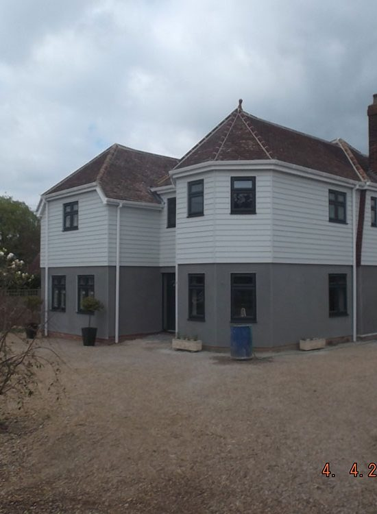 Front of the property showing the new two storey extension and external finishes